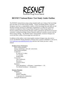 RESNET Rater Test Study Guide Outline
