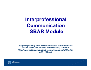 Interprofessional Communication SBAR Module