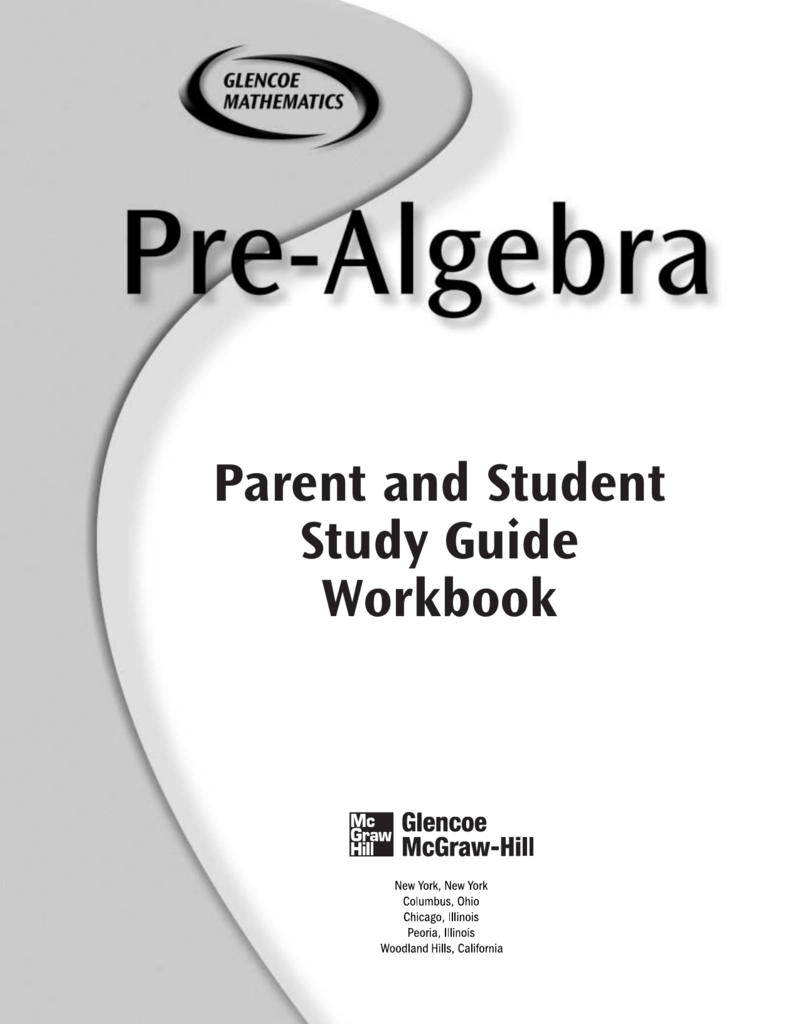 Uncategorized Glencoe Mcgraw-hill Worksheet Answers pre algebra student parent study guide p tech