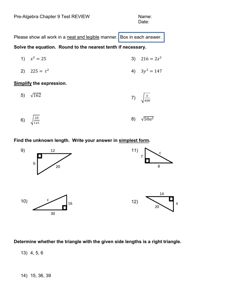 Pre-Algebra Chapter 9 Test REVIEW Name