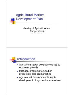 Agricultural Market Development Plan Introduction