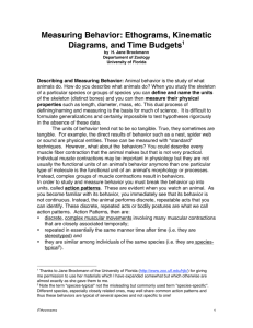 Measuring Behavior: Ethograms, Kinematic Diagrams, and Time