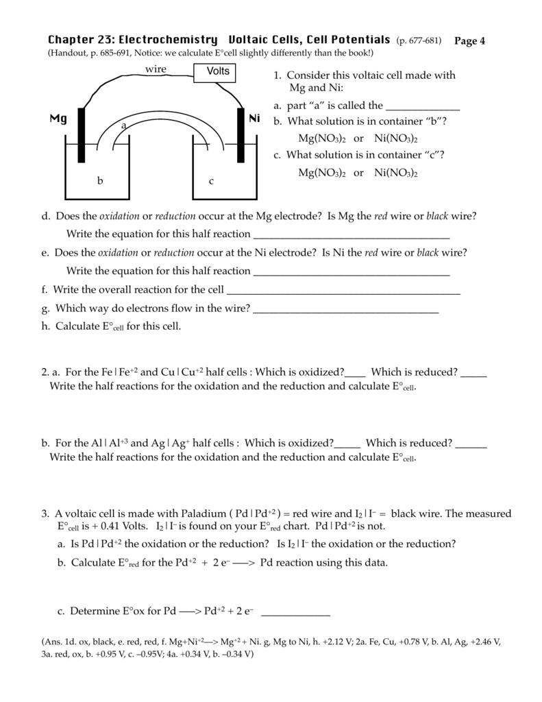 worksheet Electrochemistry Worksheet electrochemistry worksheet