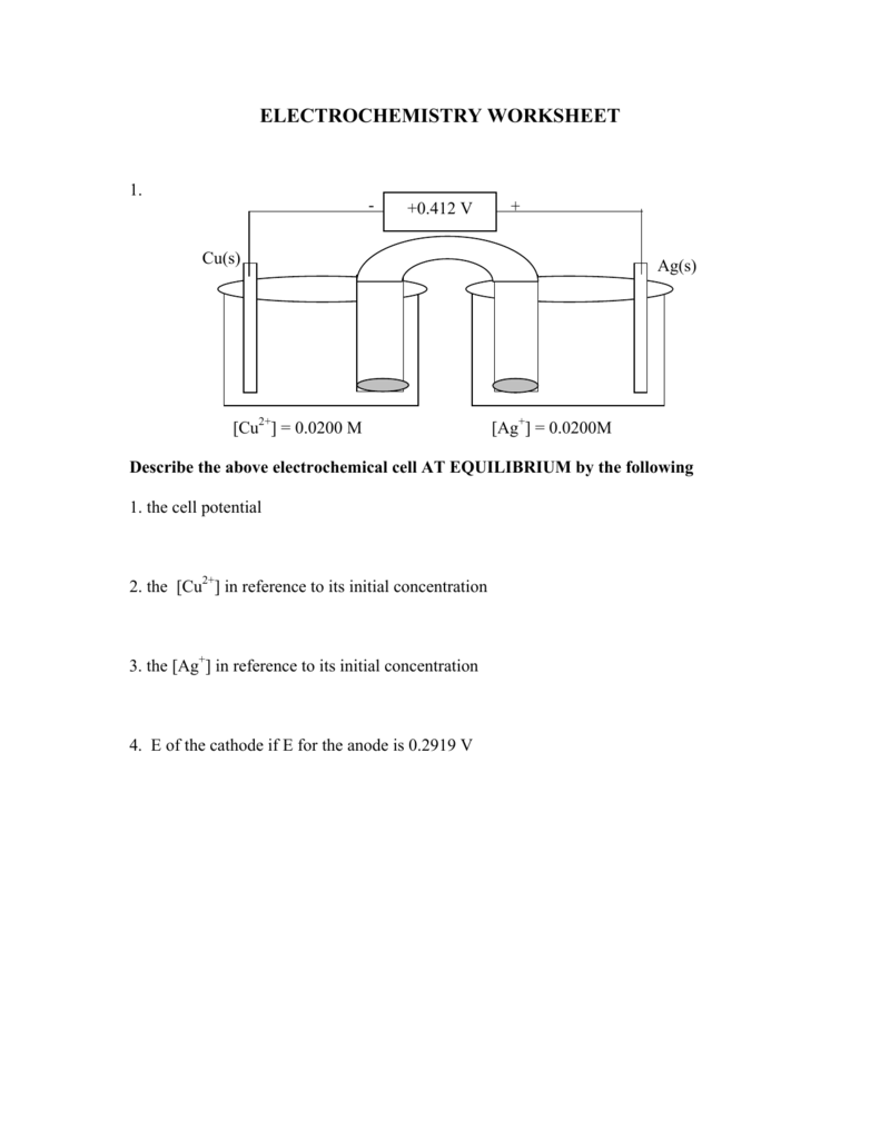 Worksheets Electrochemistry Worksheet electrochemistry worksheet