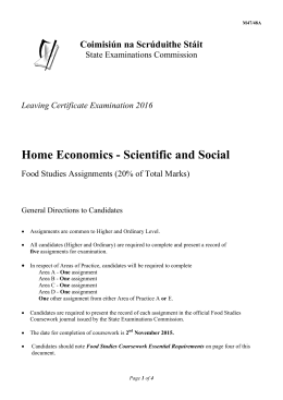 home economics practical food studies assignment cover