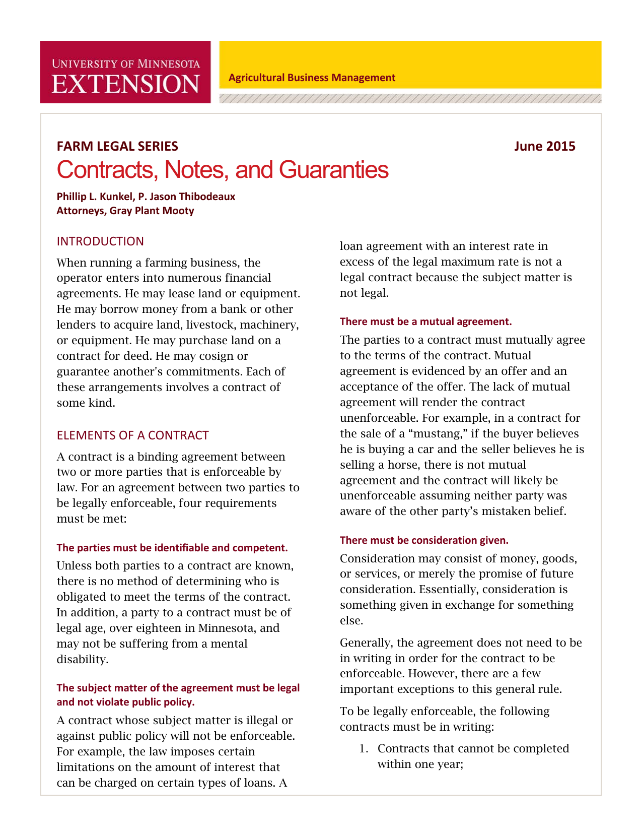 Contracts Notes And Guaranties University Of Minnesota