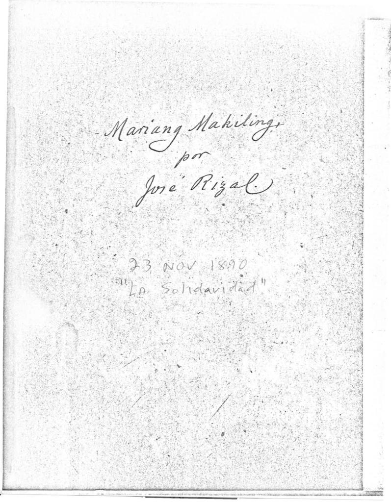 Mariang Makiling by Jose Rizal, 1968 Arnold H  Warren translation