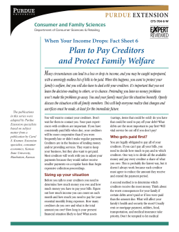 Fact Sheet 6 Plan to Pay Creditors and Protect Family Welfare