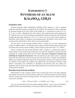 synthesis of alum lab answers Xperiment 3   synthesis of alum pre-‐lab questions answer these questions and hand them to the tf before beginning work experiment 3 synthesis of alum containers made from aluminum (al(s)) are quite durable: the average aluminum can lasts about 100 years.