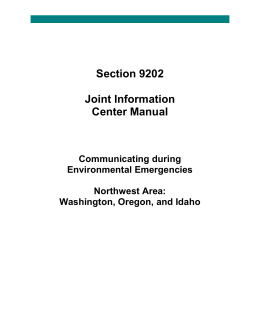 Section 9202 Joint Information Center Manual