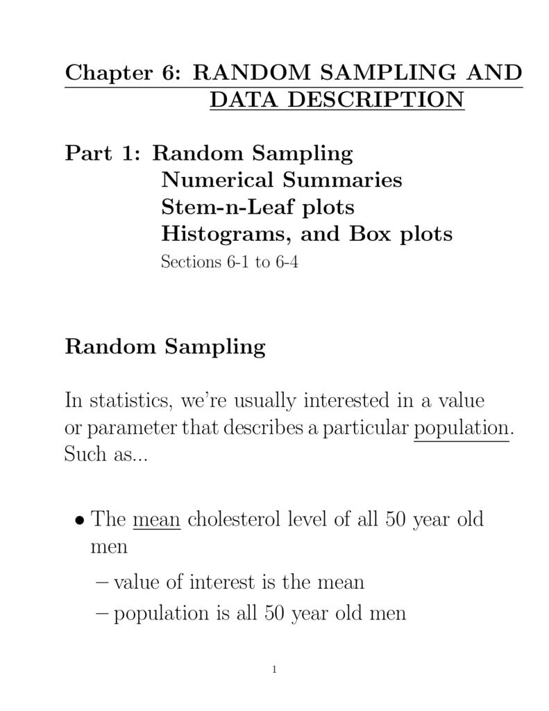 Stem & Leaf Plots Data