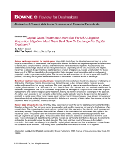 Capital-Gains Treatment a Hard Sell for M&A Litigation Acquisition