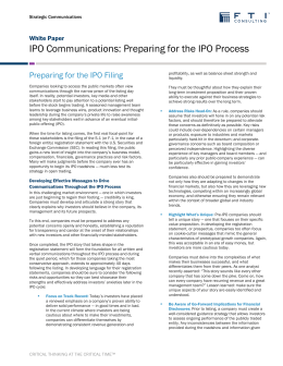 IPO Communications: Preparing for the IPO Process