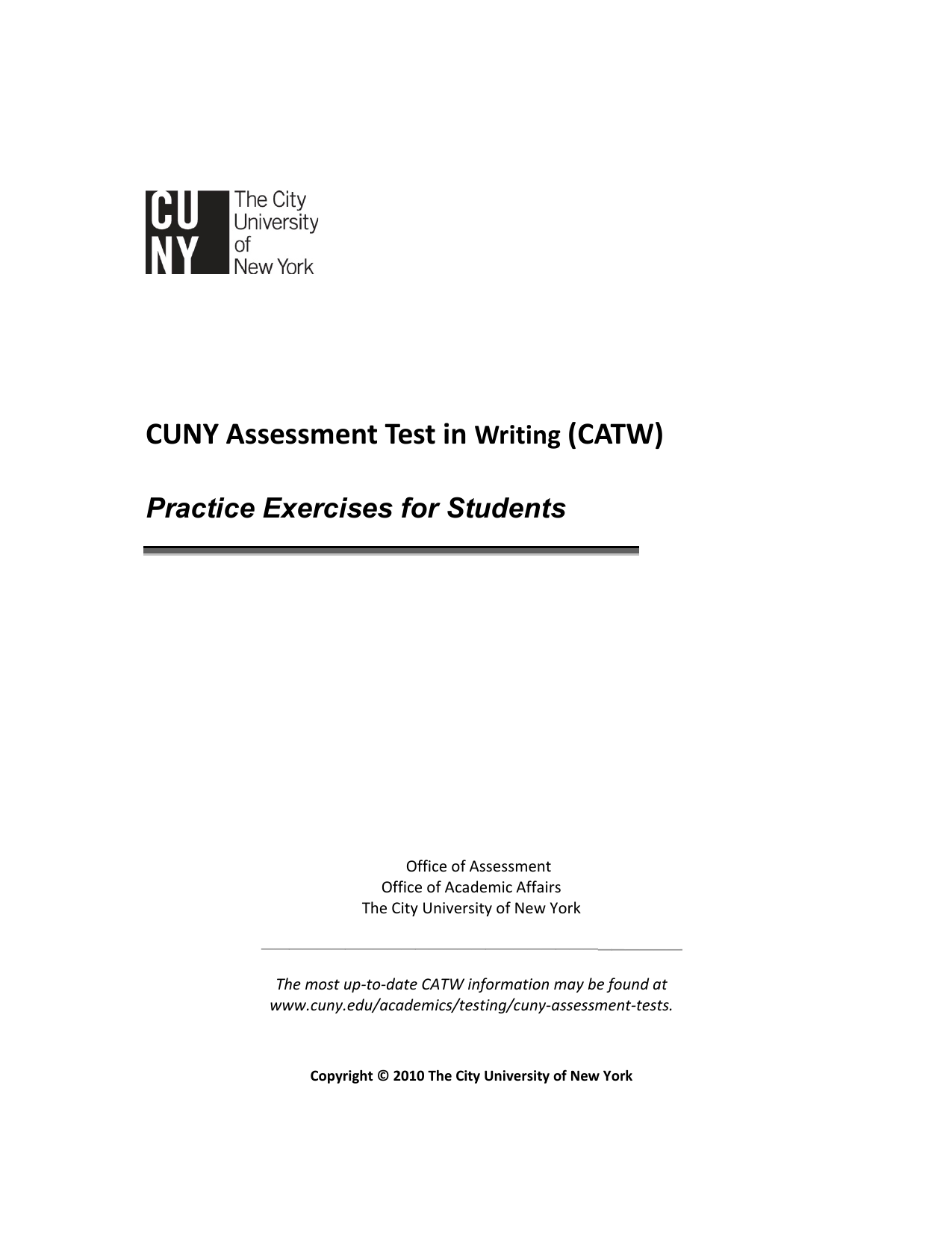 format of the cuny assessment test in writing catw