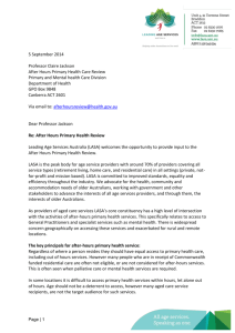 After hours primary health care review submission