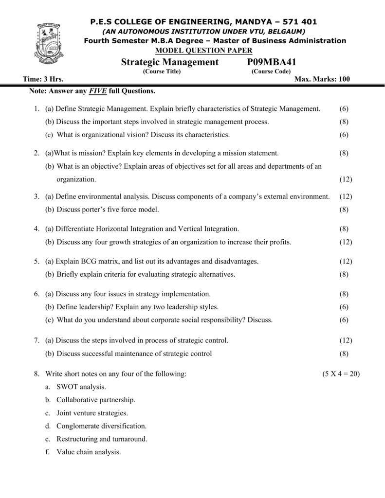 MBA question Paper - PES College of Engineering