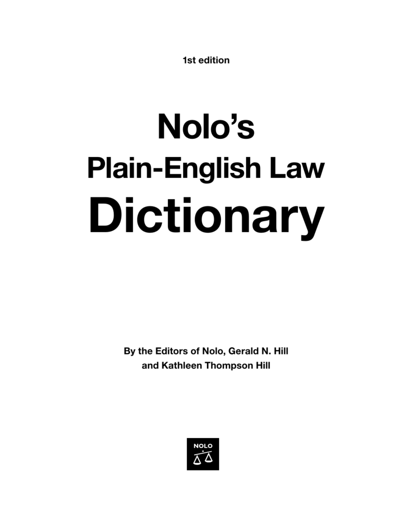 Nolos Plain English Law Dictionary