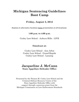 Michigan Sentencing Guidelines Boot Camp