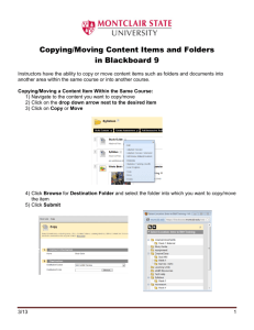 Copying/Moving Content Items and Folders in Blackboard 9