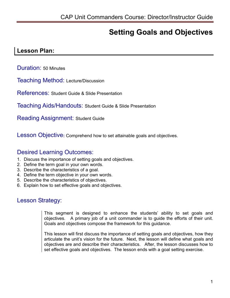 setting goals objectives