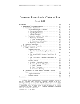 Consumer Protection in Choice of Law