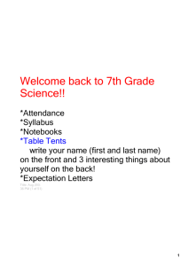 Welcome back to 7th Grade Science!!