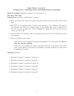 Game Theory (econ 414) Problem Set 1: Modelling Games and