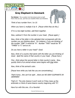 Grey Elephant in Denmark - Finance in the Classroom