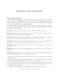 Sample Space, Events and Probability