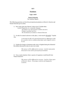 KEY Worksheet: Topic # 3035 Natural Selection By Jonathan