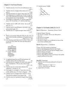 Geometry Honors Notes – Chapter 11: Measuring Length and Area