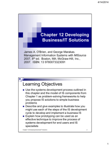 Chapter 12 Developing Business/IT Solutions Learning Objectives