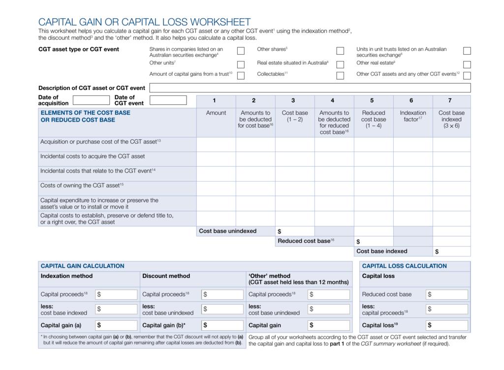 Capital gain or capital loss worksheet ibookread ePUb