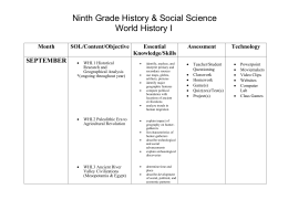 Ninth Grade History & Social Science World History I