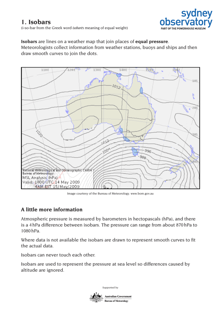 1  Isobars - Sydney Observatory