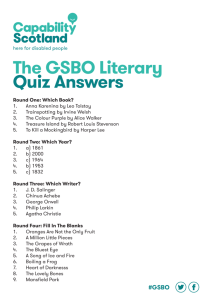 The GSBO Literary Quiz Answers