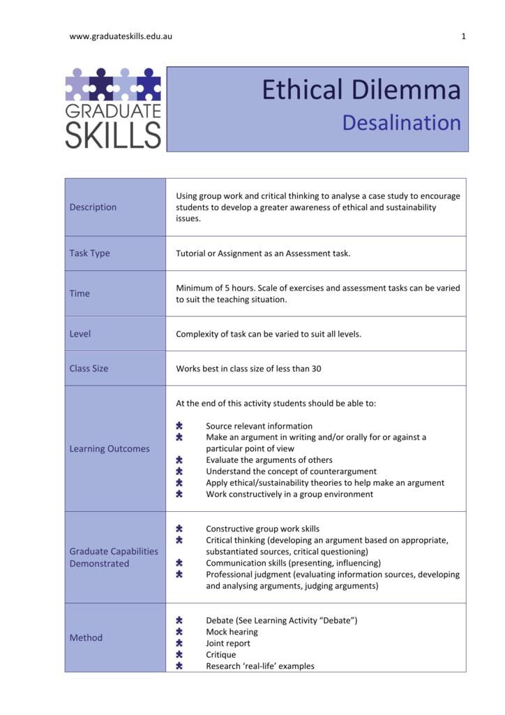 Ethical Dilemma - Graduate Skills