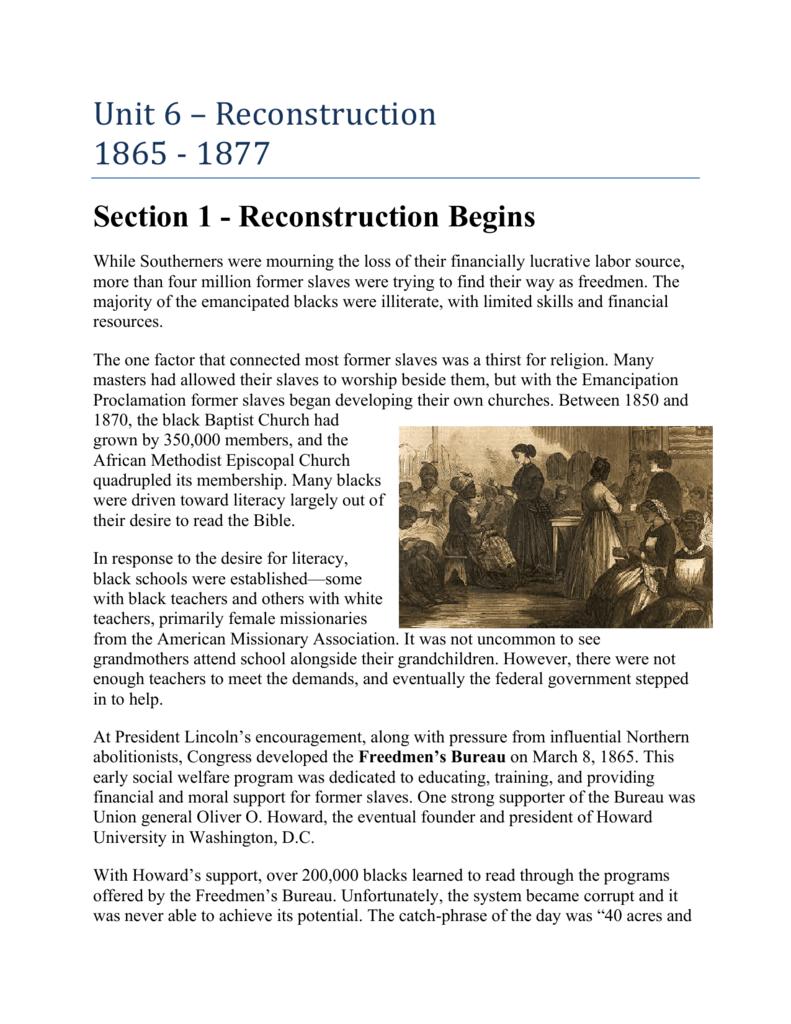 Unit 6 - Reconstruction 1865 - 1877