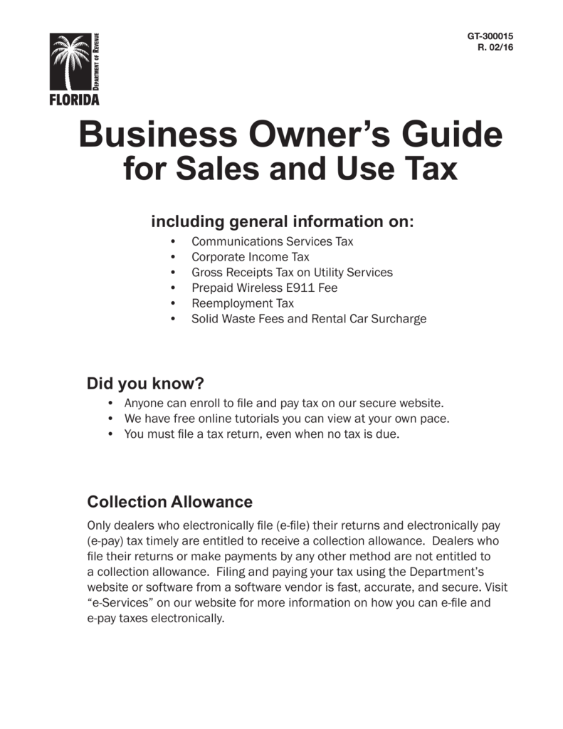 Business Owners Guide Florida Department Of Revenue