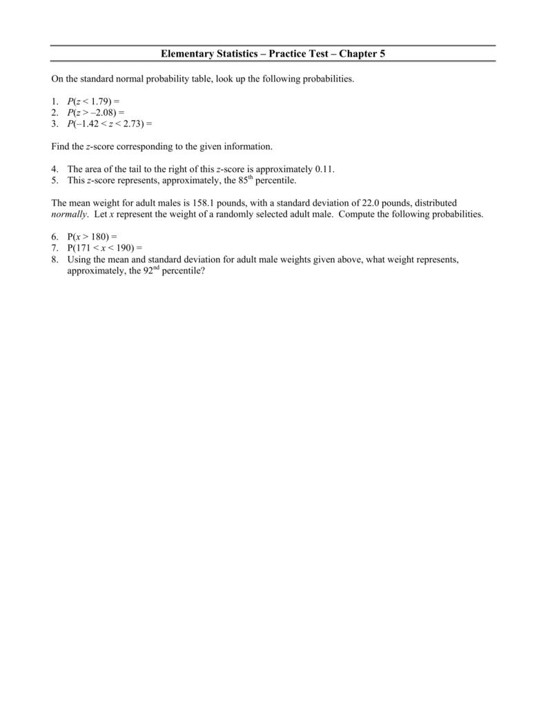Elementary Statistics – Practice Test – Chapter 5
