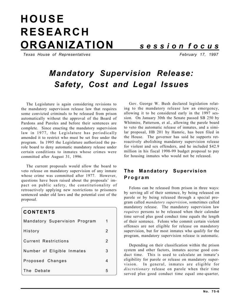 Mandatory Supervision Release