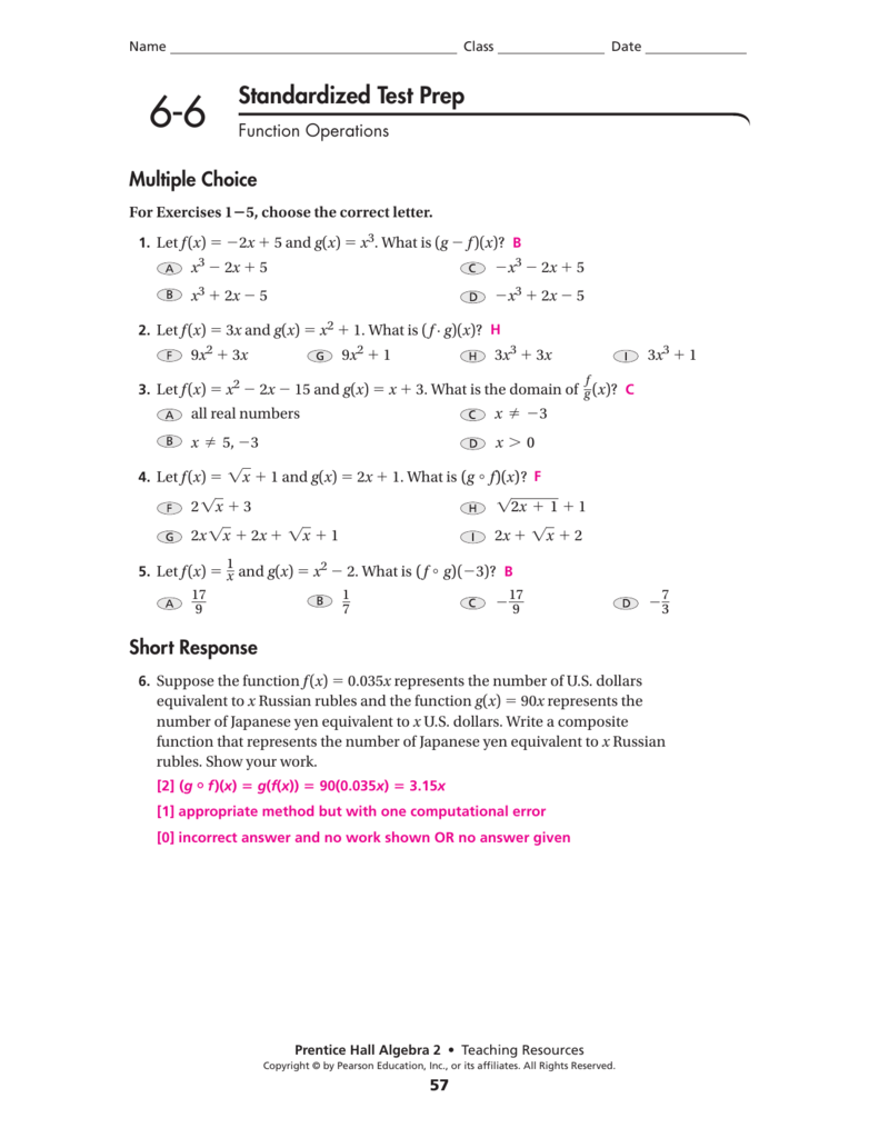 22-22 Standardized Test Prep Answers With Regard To Composite Function Worksheet Answer Key