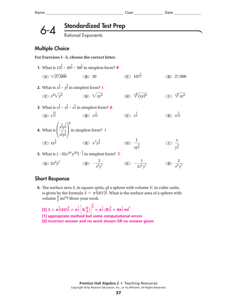 6-4 Standardized Test Prep Answers