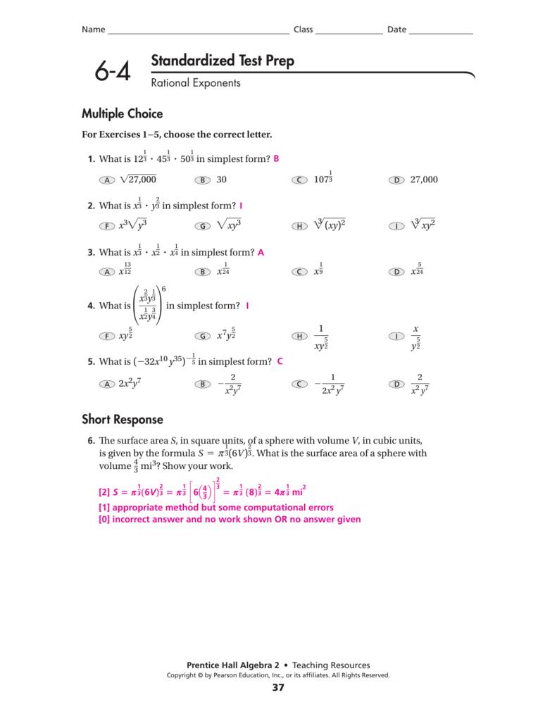 6 4 Rational Exponents Worksheet Answers algebra 2 unit 6 – Rational Exponents Worksheet