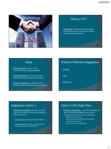 What is it??? Goals Criteria of Effective Negotiation Negotiation