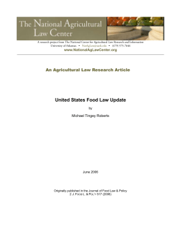 United States Food Law Update II - The National Agricultural Law