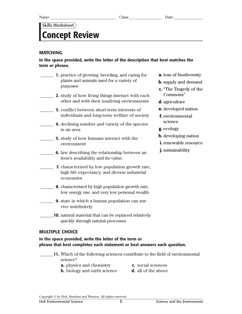 holt environmental science worksheets geersc. Black Bedroom Furniture Sets. Home Design Ideas