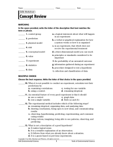 Physical Science Concept Review Worksheets with Answer Keys