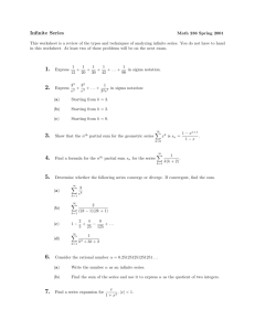 Infinite Series Worksheet - it