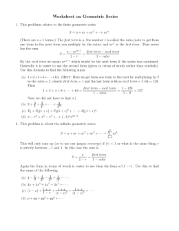 Worksheet on Geometric Series